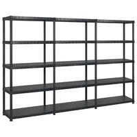 vidaXL Storage Shelf 5-Tier Black 274.5x45.7x185 cm Plastic