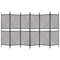 vidaXL 6-Panel Room Divider Poly Rattan Brown 360x200 cm