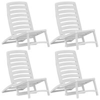 vidaXL Kids' Folding Beach Chair 4 pcs Plastic White