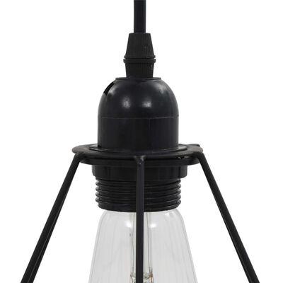 vidaXL Ceiling Lamp with Diamond Design Black 3 x E27 Bulbs