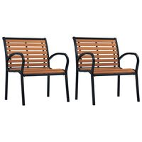vidaXL Garden Chairs 2 pcs Steel and WPC Black and Brown