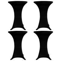 vidaXL Standing Table Cover Ø70 cm Black Stretch 4 pcs