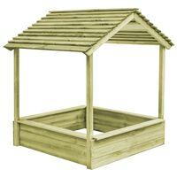 vidaXL Outdoor Playhouse with Sandpit 128x120x145 cm Pinewood