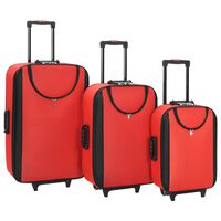 vidaXL Soft Case Trolleys 3 pcs Red Oxford Fabric