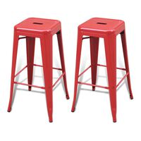 vidaXL Bar Stools 2 pcs Red Steel