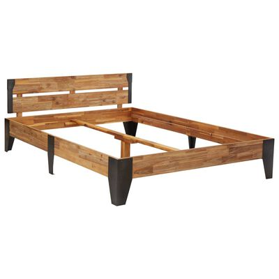 vidaXL Bed Frame Solid Acacia Wood with Brushed Finish 120x200 cm