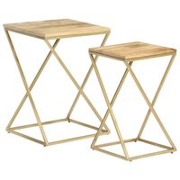 vidaXL Side Tables 2 pcs Solid Mango Wood and Steel
