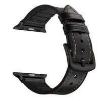 Apple Watch Band 1/2/3/4/5 Universal Leather/Silicone Strap 38 mm Blac