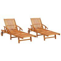 vidaXL Sun Loungers 2 pcs Solid Acacia Wood