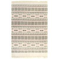 vidaXL Kilim Rug Cotton 160x230 cm with Pattern Grey/Pink
