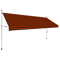 vidaXL Manual Retractable Awning 400 cm Orange and Brown
