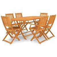 vidaXL 7 Piece Folding Outdoor Dining Set Solid Acacia Wood