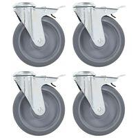 vidaXL Bolt Hole Swivel Casters with Double Brakes 4 pcs 125 mm