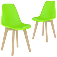 vidaXL Dining Chairs 2 pcs Green Plastic