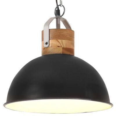 vidaXL Industrial Hanging Lamp Black Round 32 cm E27 Solid Mango Wood