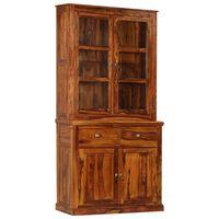 vidaXL Vitrine Cabinet Solid Sheesham Wood 100x40x200 cm