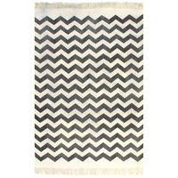 vidaXL Kilim Rug Cotton 120x180 cm with Pattern Black/White