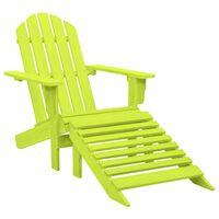 vidaXL Garden Adirondack Chair with Ottoman Solid Fir Wood Green