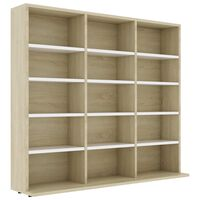 vidaXL CD Cabinet White and Sonoma Oak 102x23x89.5 cm Chipboard