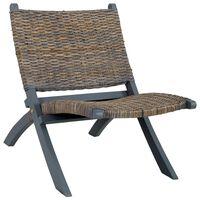 vidaXL Relaxing Chair Grey Natural Kubu Rattan and Solid Mahogany Wood