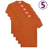 Fruit of the Loom Original T-shirts 5 pcs Orange L Cotton