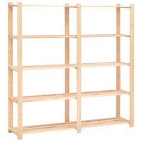 vidaXL 5-Tier Storage Rack 170x38x170 cm Solid Pinewood 500 kg