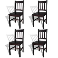 vidaXL Dining Chairs 4 pcs Dark Brown Pinewood