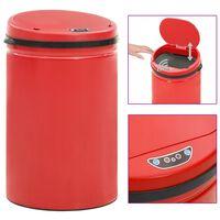 vidaXL Automatic Sensor Dustbin 30 L Carbon Steel Red