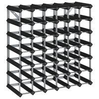 vidaXL Wine Rack for 42 Bottles Black Solid Pine Wood