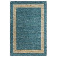 vidaXL Handmade Rug Jute Blue 80x160 cm