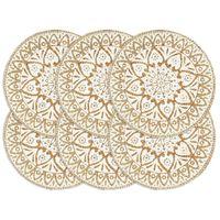 vidaXL Placemats 6 pcs White 38 cm Round Jute