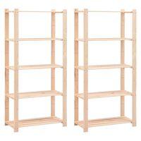 vidaXL 5-Tier Storage Racks 2 pcs 80x38x170 cm Solid Pinewood 250 kg