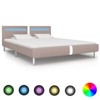 vidaXL Bed Frame with LED Cappuccino Faux Leather 150x200 cm