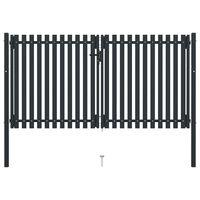 vidaXL Double Door Fence Gate Steel 306x200 cm Anthracite