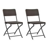 vidaXL Folding Garden Chairs 2 pcs HDPE and Steel Brown