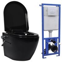 vidaXL Wall Hung Rimless Toilet with Concealed Cistern Ceramic Black