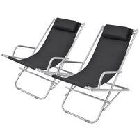 vidaXL Reclining Deck Chairs 2 pcs Steel Black