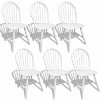 vidaXL Dining Chairs 6 pcs White Solid Rubber Wood