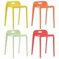 vidaXL Stackable Stools 4 pcs Multicolour Plastic