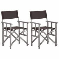 vidaXL Director's Chairs 2 pcs Solid Acacia Wood