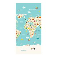 Good Morning Beach Towel WORLDMAP 75x150cm Light Blue