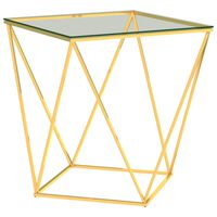 289034 vidaXL Coffee Table Gold and Transparent 50x50x55 cm Stainless Steel