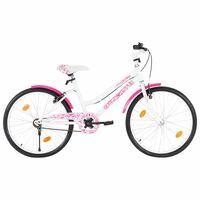 vidaXL Kids Bike 24 inch Pink and White