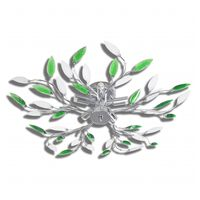 Green&White Ceiling Lamp with Acrylic Crystal Leaf Arms for 5 E14Bulbs