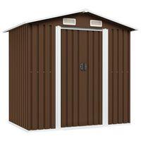 vidaXL Garden Storage Shed Brown 204x132x186 cm Steel