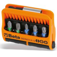 Beta Tools 10 Piece Bits with Magnetic Bit Holder Set 860MIX/A10