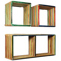 vidaXL Wall Shelf Set 3 Pieces Solid Reclaimed Teak Multicolour