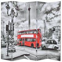 vidaXL Folding Room Divider 200x170 cm London Bus Black and White