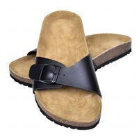 vidaXL Women's Bio Cork Sandal with 1 Buckle Strap Black Size 36