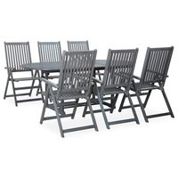 vidaXL 7 Piece Outdoor Dining Set Solid Acacia Wood Grey